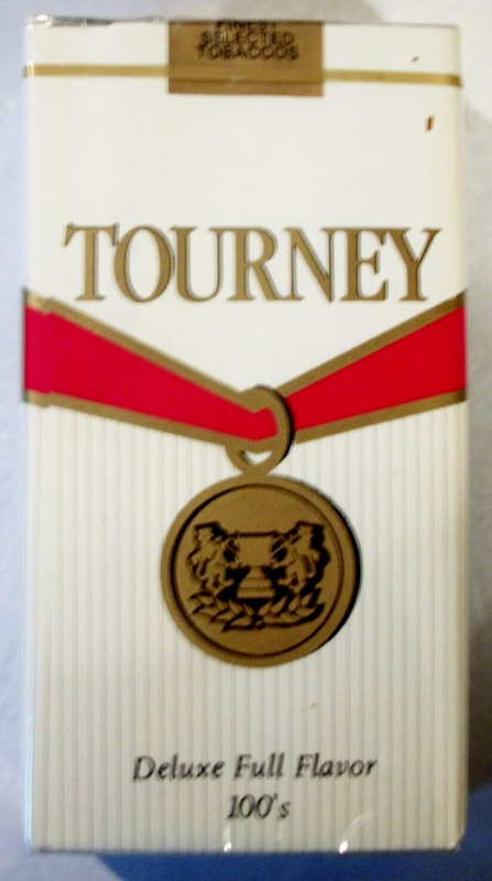 Tourney Deluxe Full Flavor 100's - vintage American Cigarette Pack
