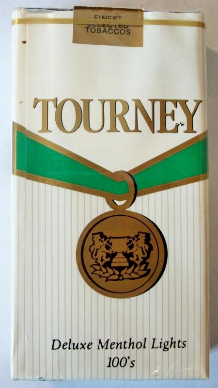 Tourney Deluxe Menthol Lights 100's - vintage American Cigarette Pack