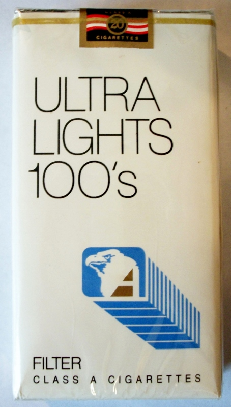 Genco Ultra Lights 100's Filter - vintage American Cigarette Pack