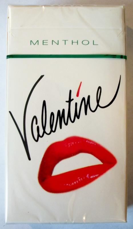 Valentine Menthol 100's box - vintage American Cigarette Pack