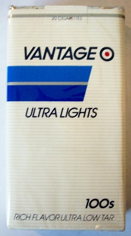 Vantage Ultra Lights 100's - vintage American Cigarette Pack (version 1)