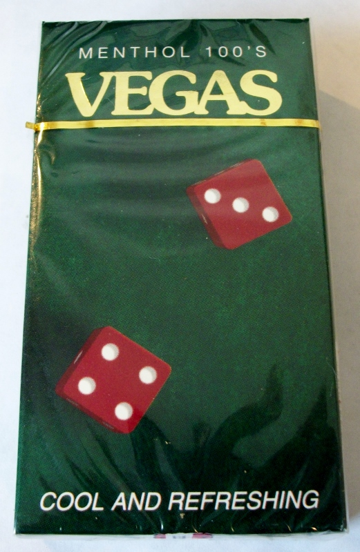 Vegas Menthol 100's box - vintage American Cigarette Pack