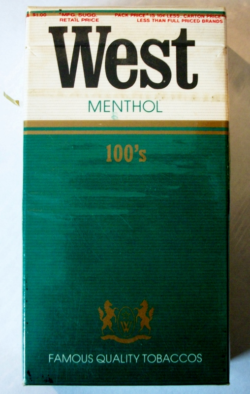 West Menthol 100's - vintage West German Cigarette Pack