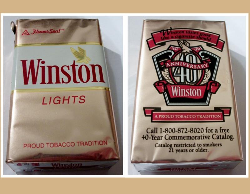 Winston Lights, King Size FlavorSeal - vintage American Cigarette Pack