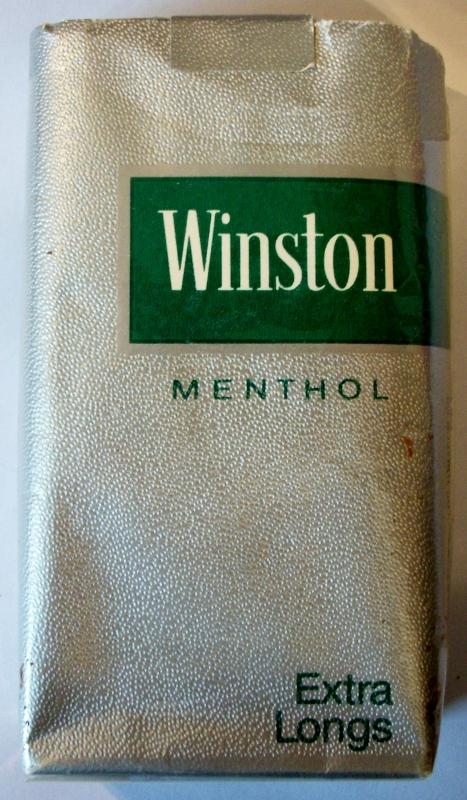 Winston Menthol Extra Longs, 100's - vintage empty American Cigarette Pack