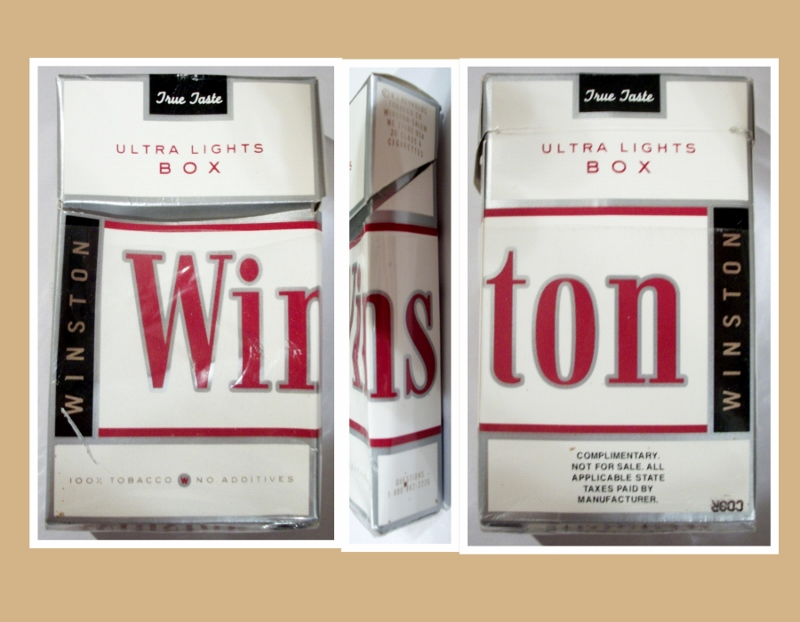 Winston True Taste Ultra Lights box - vintage American Cigarette Pack