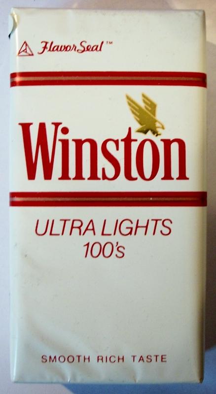 Winston Ultra Lights 100's FlavorSeal - vintage American Cigarette Pack