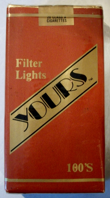 Yours Filter Lights 100's - vintage American Cigarette Pack