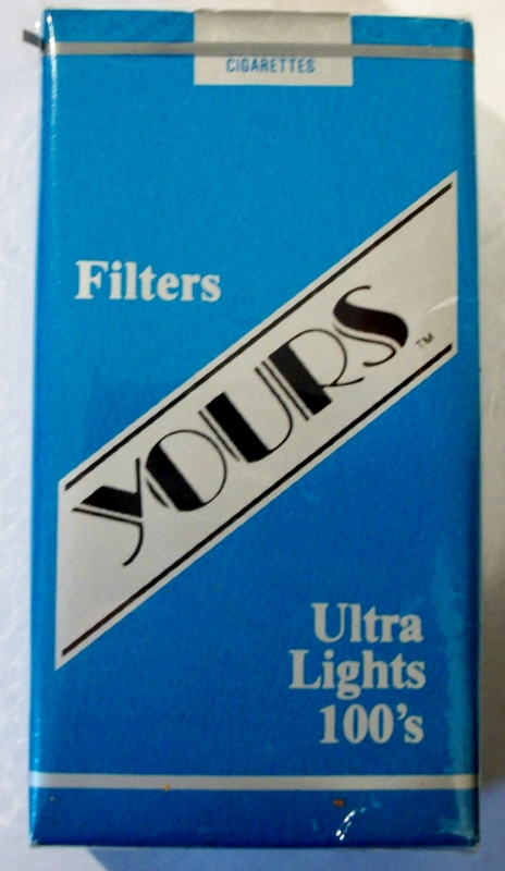 Yours Filters Ultra Lights 100's - vintage American Cigarette Pack