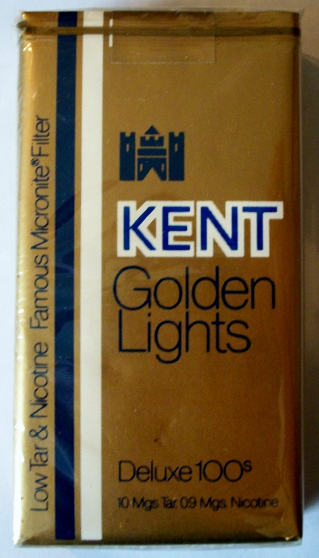 Kent Golden Lights Deluxe 100s, Micronite Filter - vintage American Cigarette Pack