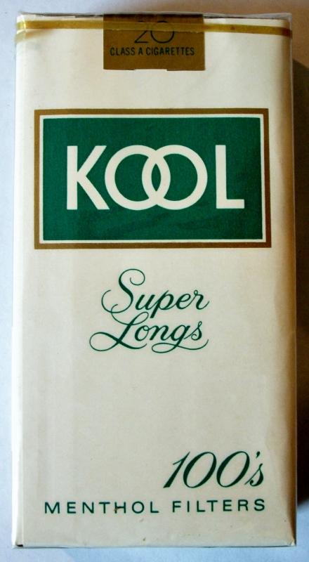 Kool Super Longs Menthol Filters 100's - vintage American Cigarette Pack