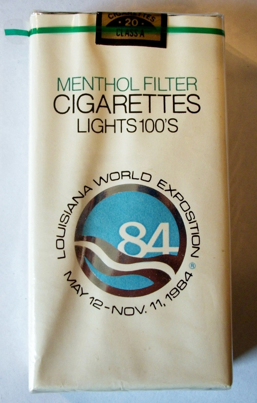 Louisiana World Exposition 1984 Menthol Filter Lights 100's - vintage American Cigarette Pack