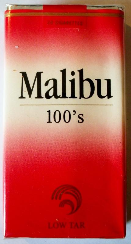 Malibu 100's Low Tar - vintage American Cigarette Pack