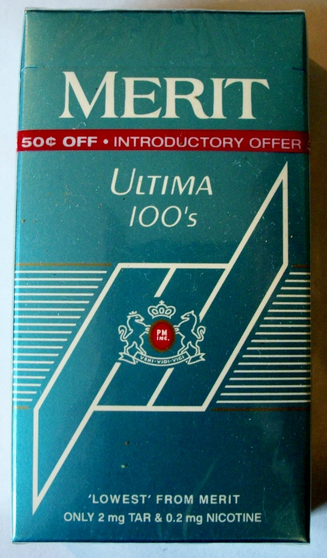 Merit Ultima 100's box - vintage American Cigarette Pack