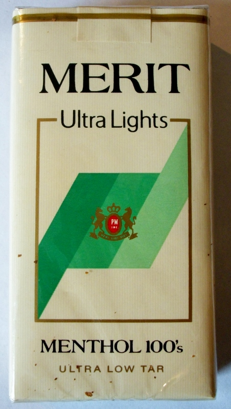Merit Ultra Lights Menthol 100's - vintage American Cigarette Pack