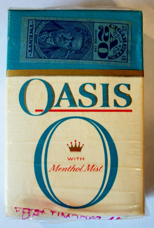 Oasis with Menthol Mist late 1950s, King Size Filter - vintage American Cigarette Pack