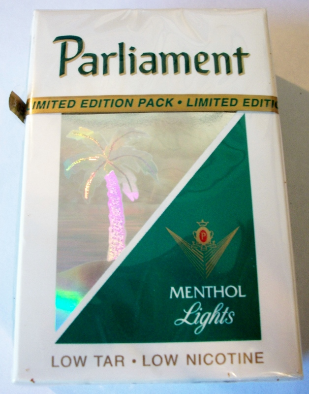 Parliament Menthol Lights box, Collection Design (Palm Tree) - vintage American Cigarette Pack