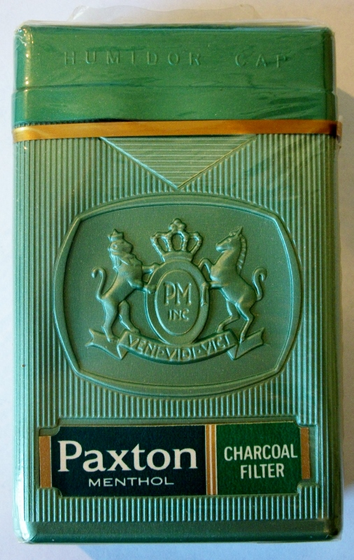 Paxton Menthol, Charcoal Filter, king size box - vintage American Cigarette Pack