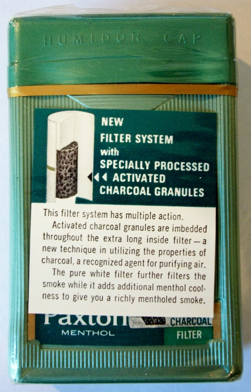 Paxton Menthol Charcoal Filter King Size Box Vintage