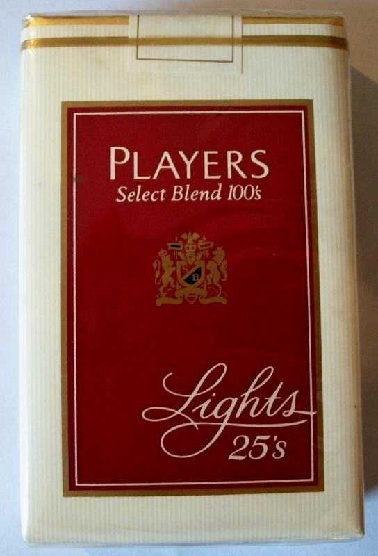 Players Select Blend 100's Lights, 25-pack - vintage American Cigarette Pack