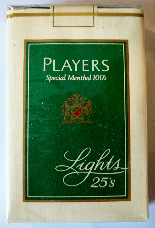 Players Special Menthol 100's Lights, 25-pack - vintage American Cigarette Pack