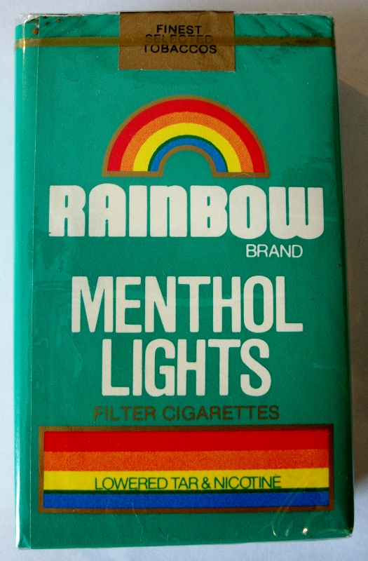 Rainbow Menthol Lights, king size - vintage American Cigarette Pack