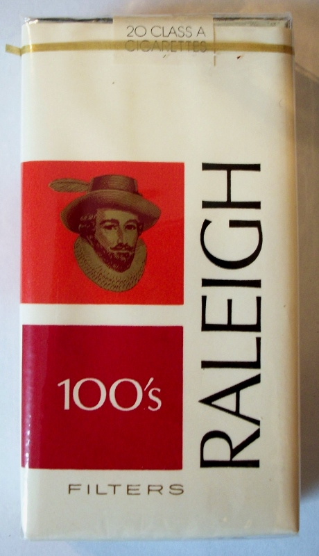 Raleigh Filters 100's, with coupon - vintage American Cigarette Pack