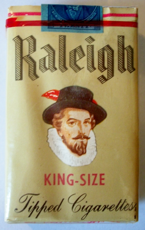 Raleigh 1953 King-Size Tipped Cigarettes - vintage American Cigarette Pack