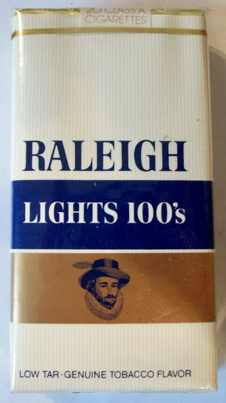 Raleigh Lights 100's low tar w/coupon - vintage American Cigarette Pack