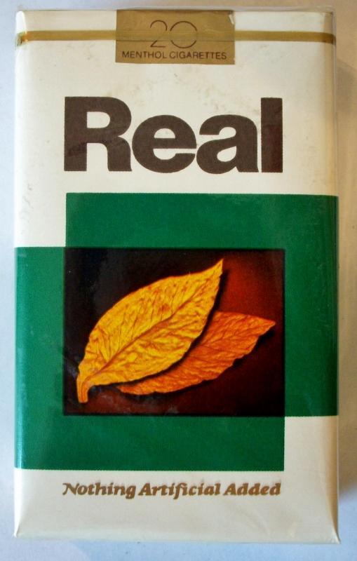 Real, Menthol, King Size - vintage American Cigarette Pack