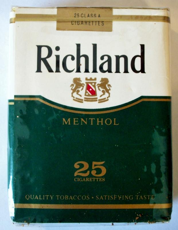 Richland Menthol, King Size 25-pack - vintage American Cigarette Pack