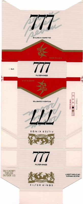 777 International Filter Kings - vintage American Cigarette Pack
