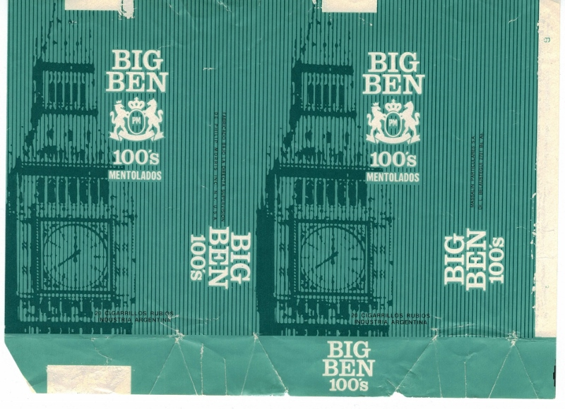 Big Ben 100's Mentolados - vintage Argentinian Cigarette Pack