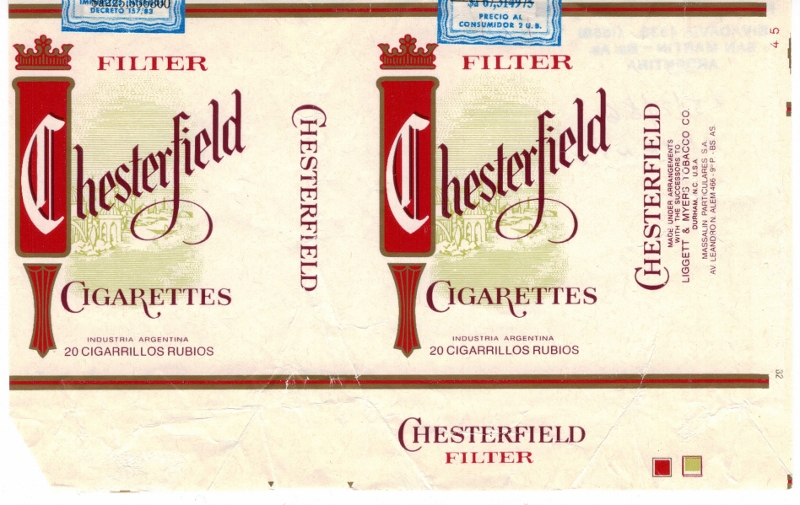 Chesterfield Filter - vintage Argentinian Cigarette Pack