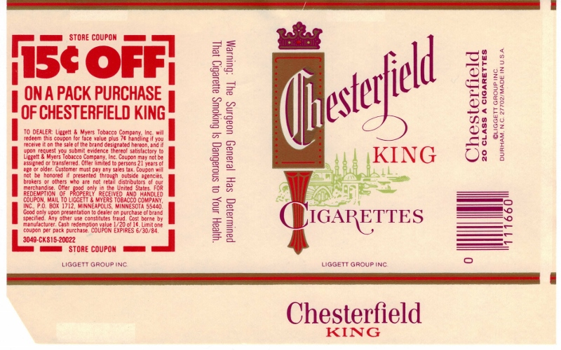 Chesterfield King w/ coupon - vintage American Cigarette Pack