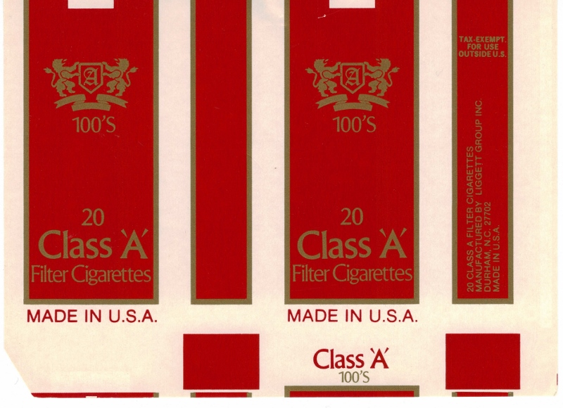Class 'A' Filter 100's - vintage American Cigarette Pack