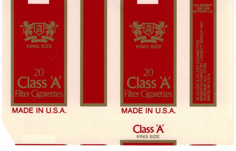 Class 'A' Filter Kings - vintage American Cigarette Pack