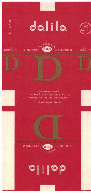Dalila King Size Filtrom - vintage Czechoslovakian Cigarette Pack