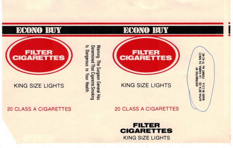 Econo Buy King Size Lights - vintage American Cigarette Pack