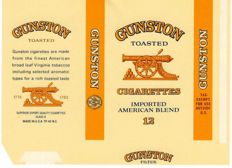 Gunston Toasted Cigarettes 12 - vintage American Cigarette Pack