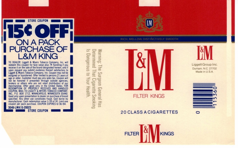 L&M Filter Kings w/ coupon - vintage American Cigarette Pack