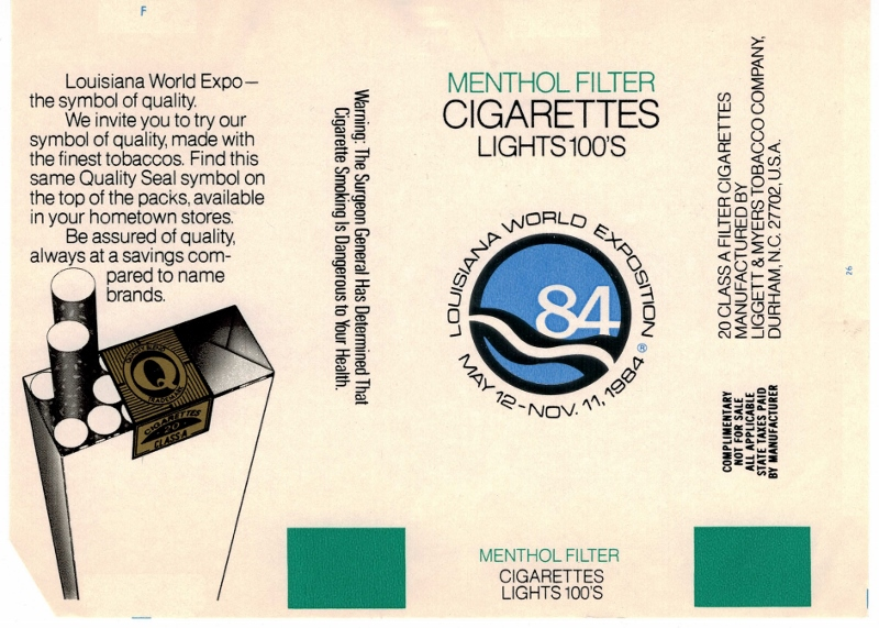 Louisiana World Exposition 1984 Menthol Filter 100's - vintage American Cigarette Pack