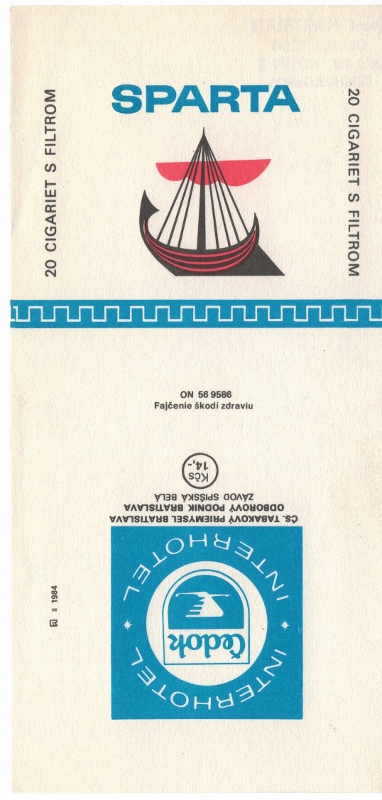 Sparta Čedok Interhotel - vintage  Czechoslovakian Cigarette Pack