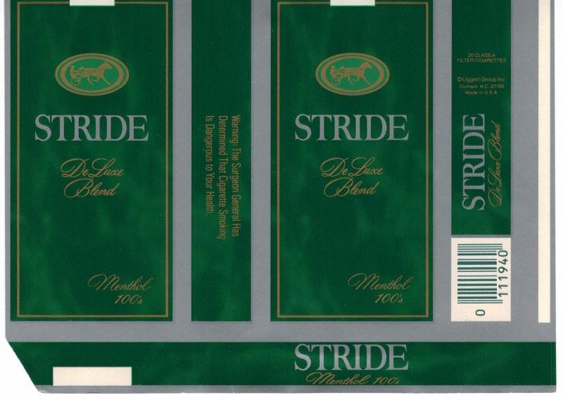 Stride DeLuxe Blend Menthol 100's - vintage American Cigarette Pack