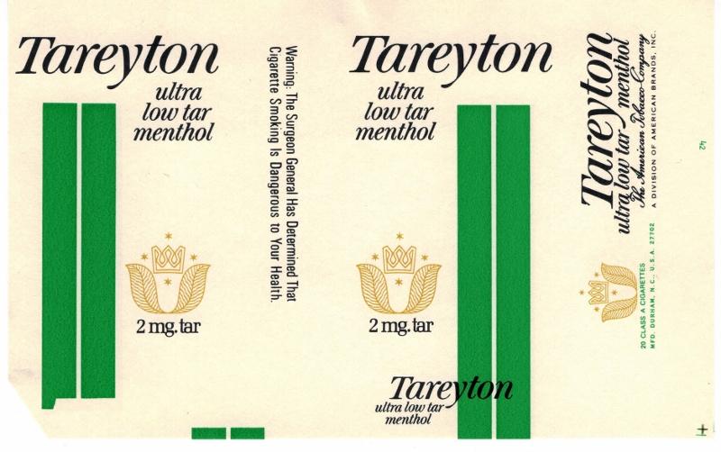 Tareyton Ultra Low Tar Menthol - vintage American Cigarette Pack