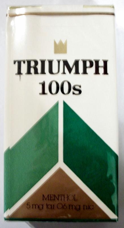 Triumph 100's Menthol - vintage American Cigarette Pack