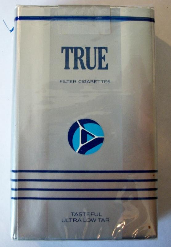 True Filter, silver pack - vintage American Cigarette Pack