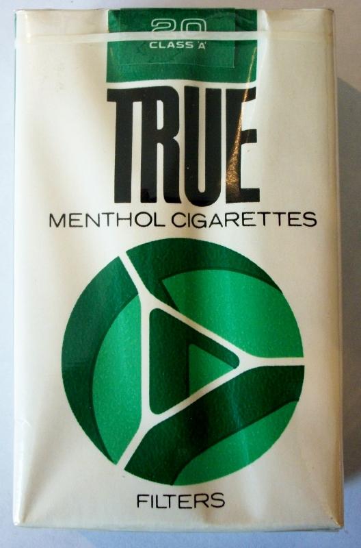 True Menthol, King Size 1960s - vintage American Cigarette Pack