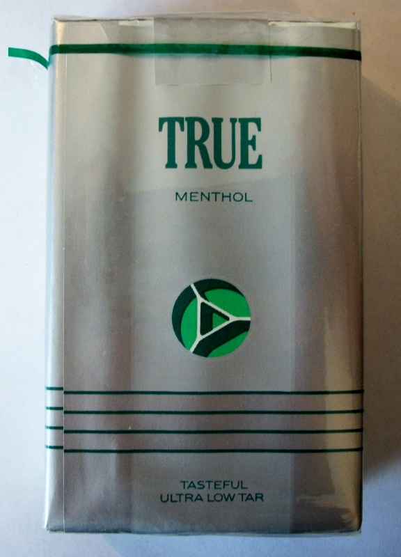 True Menthol, silver pack - vintage American Cigarette Pack
