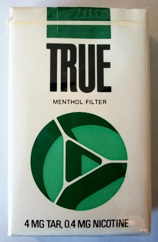 True Menthol, King Size - vintage American Cigarette Pack